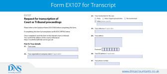 Download Form EX107 for Receiving Court Transcript