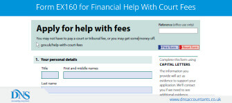 Download Form EX160 for Help with Court Fees