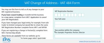 VAT Change of Address Details - VAT 484 Form