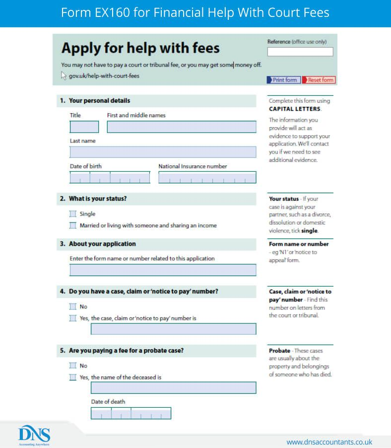Form EX160 for Financial Help With Court Fees