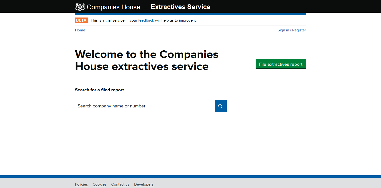 Companies House extractives service