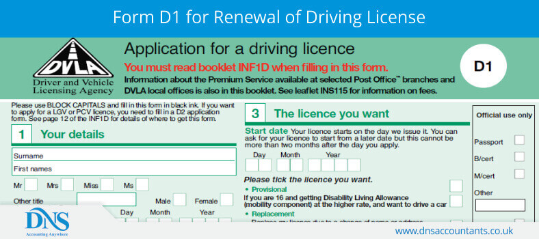 Form D1 for Renewal of Driving License