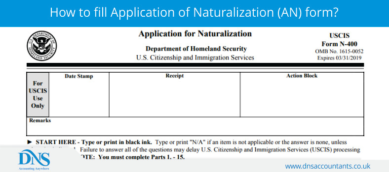 How to fill Application of Naturalization (AN) form?