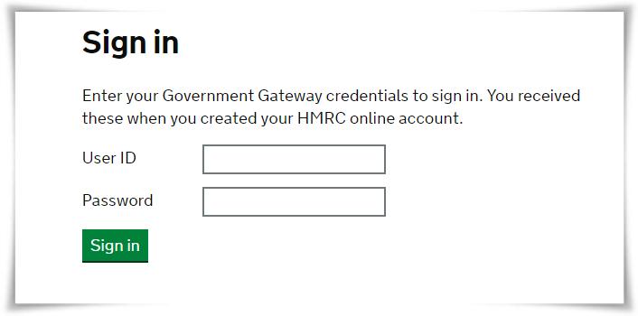 HMRC login Page