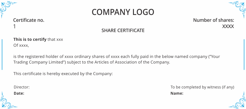 Shareholder s agreement share certificate uk template for Shareholding certificate template